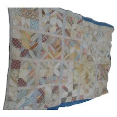 Vintage 80 x   124 inches hand sewn quilt 1920 s