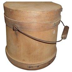 Circa 1929 wood firkin bail handle and lid