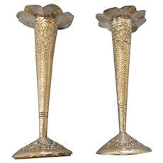 Pair of  5 inches tall victorian ornate silver plate candle sticks