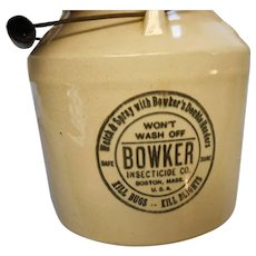 Antique crock by bower insectiside co of boston poisin crock with bail handle