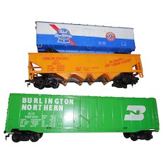 Three different  Tyco model ho train cars
