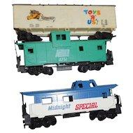 Three different vintage Tyco model train cars