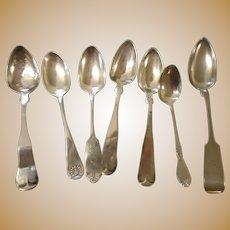 Circa 1880 7 coin silver spoons