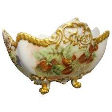 Vintage T V Limoge hand painted 4 footed large bowl