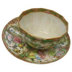Circa 1890 Rose medallian cup and saucer in mint condition