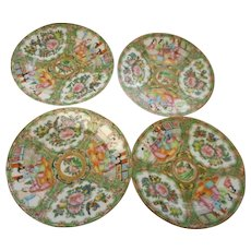 Four circa 1890n Rose Medallian 7 inch plates allin mint condition