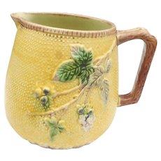 Circa 1920 yellow floral majolica  pitcher