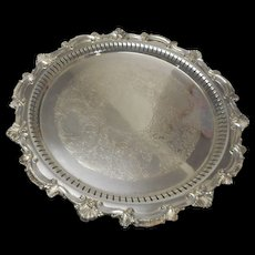 Quite Heavy vintage silver plate round 15 inch tray  with ornate edge  and reticulated