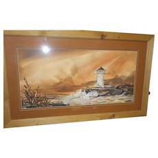 Vintage framed double mat guache water color light house scene