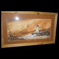 Vintage framed double mat guache water color light house scene