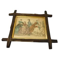 Victorian criss cross wood frame with 1865 Godey print