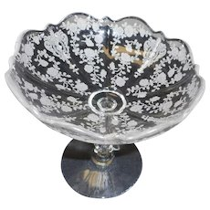 Vintage elegant glass by Fostoria compote  etched flowers