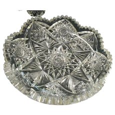 Circa 1890 american brilliant period shallow cut glass dish hard to find