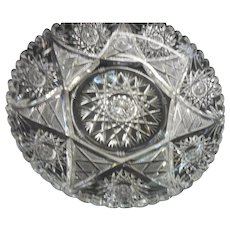 American Brilliant period cut glass dish with basestarburst