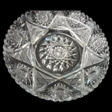 American Brilliant period cut glass dish with basestarburst