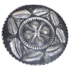 Circa 1890 american brilliant period cut glass plate with leaf design