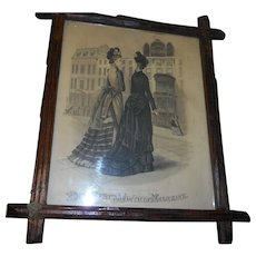 Victorian criss croos frame with  1890 godey print