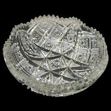 Circa 1900 signed Nu cut crysatal cut glass small bowl