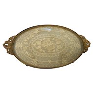 Vintage oval 9  inch vanity tray lace with glass