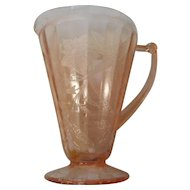 Vintage deoression era Jeanette glass pink poinsettie footed pitcher