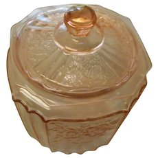 Depression pink Anchor hocking open rose biscut cookie jar with lid