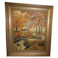 Vintage framed oil painting on canvasnew england artist cottage forest scene