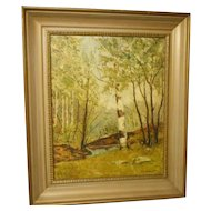 Vintage oil painting on canvas nicely framed signed listed new england artistwoods birch treenew england artist
