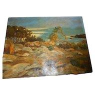 Vintage oil paintin on canvas signed listed new england artistg seascape