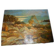Vintage oil paintin on canvas signed listed new england artistg seascape