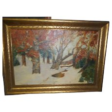 Vintage landscape oil painting on canvas nicely framed signed by new england artist