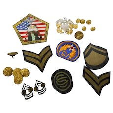 21 vintage U S Navy patches buttons