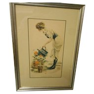 Vintage framed and matted litograph by james Montgomery flagg
