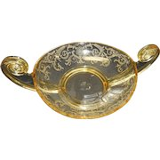 Elegant glass by fostoria in Valencia pattern 3 handles yellow etched pattern bowl