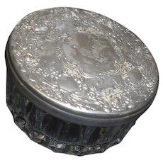 Circa 1900 victorian era powder jar silver plate cover with mirror