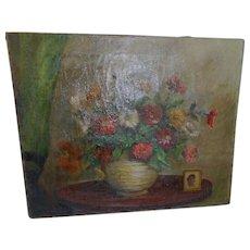 Circa 1900 oil on canvas still life scene 18 x ss inches