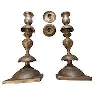 Circa 1890 silverplate 12 inch pair of candlesticks made by van bergh  new york