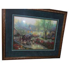 Contempory  nice frame double matted crewel special glass embroidery