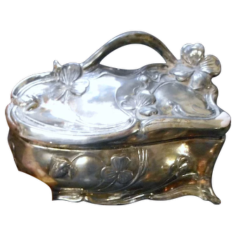 Circa 1900 silver plate Victorian lided jerwelry dresser box by j b signifies the best