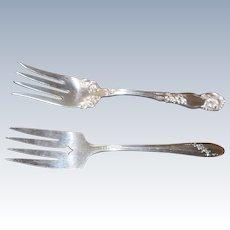 Two vintage serving silver plate serving forks