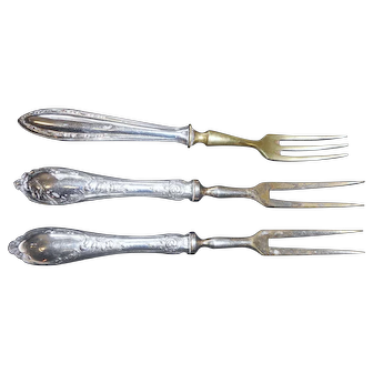 Three sterling silver handle victorian pickle forks 6 inches long