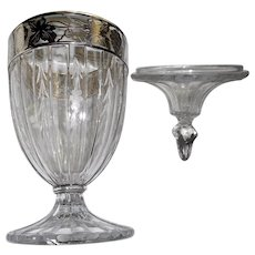 "Circa 1920 crystal covered candy 10 "" tall sterling band engraved ribs"
