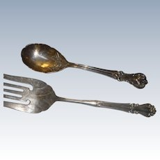 Pair of heavy vintage silver plate salad set fork and spoon