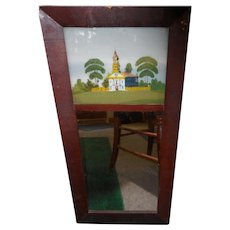 Circa 1860 Ogee framed reverse painting mirror