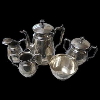 Circa 1880 5 piee set coffee silver  plate meridan