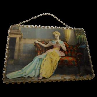 Vintahe  framed lady on sofa Hargain book store Adrian Michigan