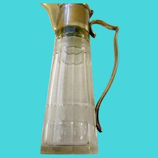 Circa 1890 Victorian crystal silverplate flip top lid vinegar condoment