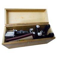 Vintage Lafayette microscope origina wood case F 334