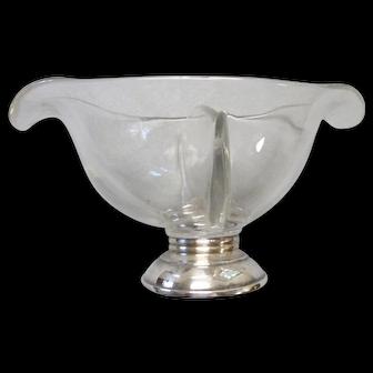 Vintage crystal sterling base divided compote