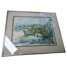 Vintage framed 1960s water Color New England signed coastal  scene