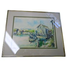 Nicely framed New England easscape water color 13 x 16 inches signed double matted purchased on Cape Cod ma